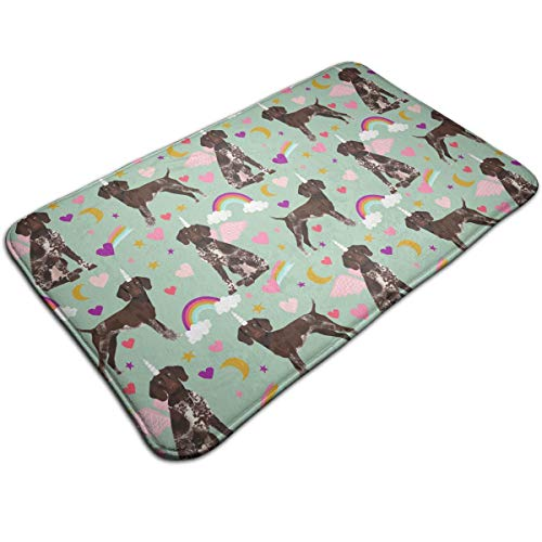 Cute German Shorthaired Unicorns Rainbows Throw Area Ground Mat Restroom Kitchen Bathroom Accent Floor Party Carpet Outside Door Set Decor Welcome Entryway Rug Sign Celebrate Decorations Ornament