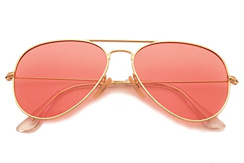 YuFalling Polarized Aviator Sunglasses for Men and Women (gold frame/ocean pink, 58) by YuFalling