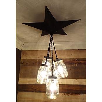 Mason Jar Chandelier Barn Star - Country Rustic Primitive