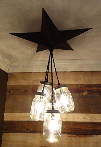 Mason Jar Chandelier Barn Star – Country Rustic Primitive Pendant Light – 5 Jars (Black)