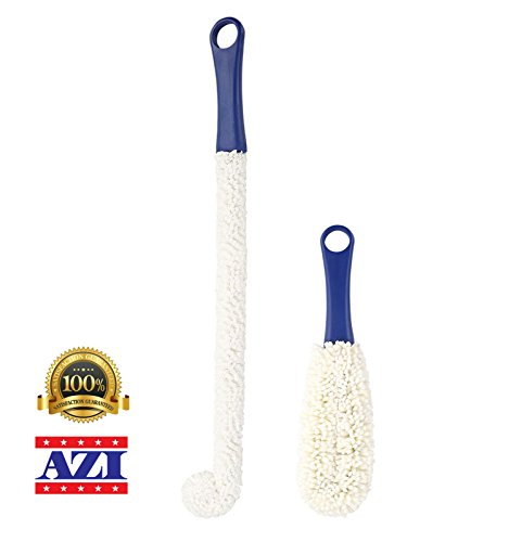(Set of 2 Different Style Azi Bottle Cleaning Brush - Flexible & Soft Perfecr for Crystals Glassware – Long Slim & Short Round – Decanter Wine Glasses Bottles Pitchers Beverage Cups Mugs & Coffee Pot)