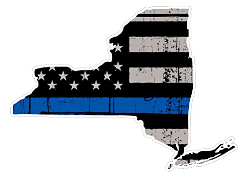 New York State (V33) Thin Blue Line Vinyl Decal Sticker Car/Truck Laptop/Netbook Window