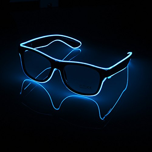 Efanr LED Glasses Light-Up Illuminated Neon Electroluminescent EL Wire Glasses Light up Shutter Frame Costumes DJ Bright Glasses Toys For Halloween, Party Christmas -Voice Control