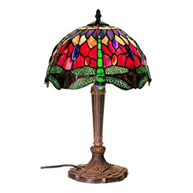 Tiffany Style Dragonfly Table Lamp, Red and Blue 18-Inch