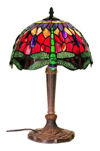 Tiffany Style Dragonfly Table Lamp, Red and Blue 18-Inch - Red Glass Table Lamp