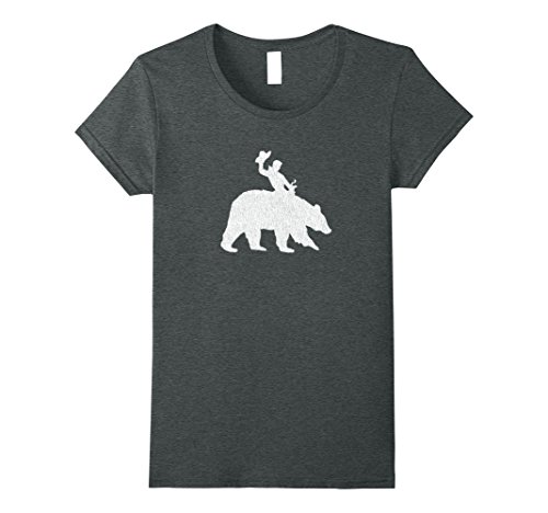 Womens Distressed Save a Horse Ride a Bear T-shirt Medium Dark (Guy Riding Bear)