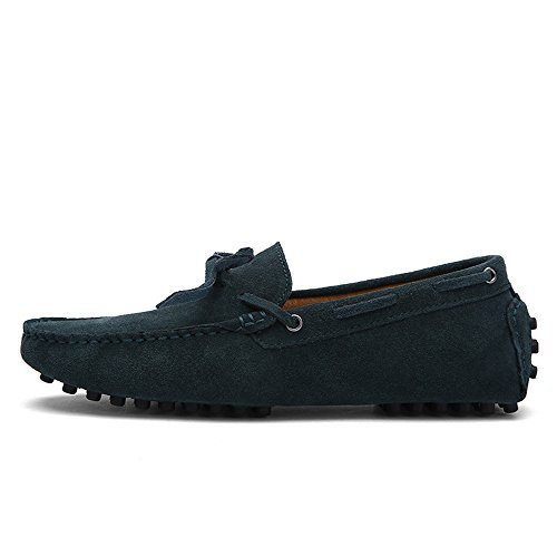 Cuero Mocasines shoes Shufang Mocasines Conducción EU Loafers Dark del tamaño Penny Hombres Color los Genuino Hombre Green Ligeros 2018 Barco de 48 Zapatos para q7EPEd