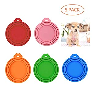 LABOTA 5 Pack Can Covers Universal Silicone Can Lids for Pet Food Cans, FDA Certified Food Grade Silicone & BPA Free (One fit 3 Standard Size Food Cans)