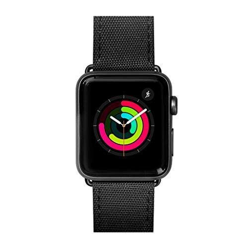 LAUT | Technical Watch Strap for Apple Watch Series 1/2/3/4 | High Spec Wrapped Nylon Strap | Rugged Style | Stainless Steel Clasp & Connectors (38mm / 40mm • Black Ops) by LAUT