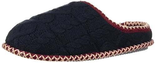 Dearfoams Women's Quilted Cable Knit Clog Slipper Peacoat