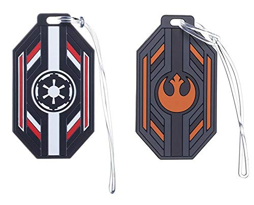 Star Wars Rubber Luggage Tags - Imperial Crest and Rebel Logo - Set of 2 (Luggage Tag Star Wars)