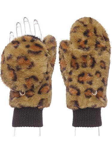 Emmalise Women Winter Fingerless Mitten Gloves Cozzy Warm Faux Fur Foldable Flap, Olive