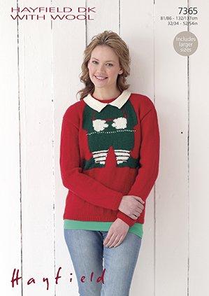 Sirdarhayfield Dk With Wool Knitting Pattern 7365 Christmas