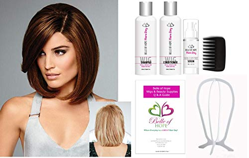 SAVOIR FAIRE - 7 Pc Bundle 100% Remy Human Hair Wig by Raquel Welch, 4 PC Human Hair Luxury Wig Kit, Plastic Wig Stand and 19 Page Belle of Hope Q & A Guide (SS12/22)