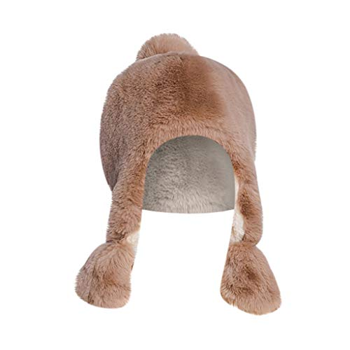 Crytech Unisex Faux Fur Russian Trooper Hat, Winter Warm Ushanka Snow Skiing Hat with Earflap Ear Warmer Plush Furry Cap Elmer Fudd Trapper Hat Ear Flap for Women Lady Men Outdoor Hunting (Khaki)