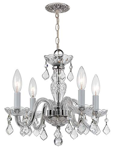 (Crystorama 1064-CH-CL-MWP Crystal Four Light Mini Chandeliers from Traditional Crystal collection in Chrome, Pol. Nckl.finish, )