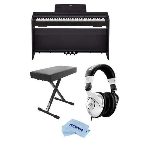 Casio PX-870 Privia 88-Key Digital Console Piano with 2x 20W Amplifiers, Black - Bundle With Behringer HPS3000 High-Performance Studio Headphones, On-Stage Deluxe X-Style Keyboard Bench, Fiber Cloth by Casio