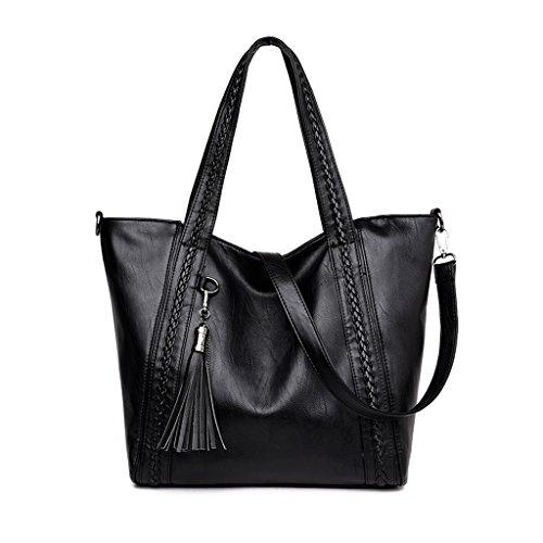 Shoulder Large Satchel (JAYLINNA Large Capacity Ladies Shoulder Bag Purses and Handbags Top Handle Satchel Tote Purse with Tassel for Women)