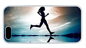 Fashion thin iphone 5 cover Girl running in the water early in the morning PC White for Apple iPhone 5/5S