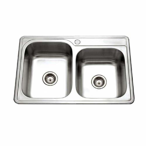 Houzer ISL-3322BS1-1 Glowtone Series Topmount Stainless Steel 1-hole 60/40 Double Bowl Kitchen (1 Glowtone Double Bowl)