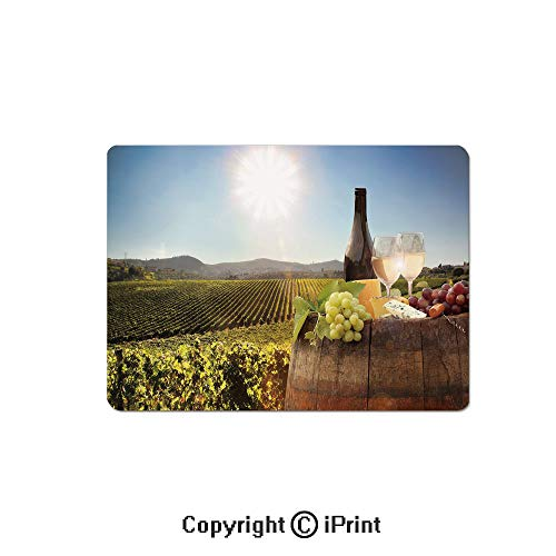 (Large Gaming Mouse Pad White Wine with Barrel on Famous Vineyard in Chianti Tuscany Agriculture Decorative Extended Mat Desk Pad Mousepad Non-Slip Rubber Mice Pads 9.8