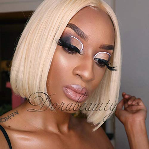Dorabeauty Short Wigs 10 inches Natural Straight Bob Wigs for Black Women 130% Density Lace Front Wigs Human Hair with Natural Hairline Blonde #613 Color