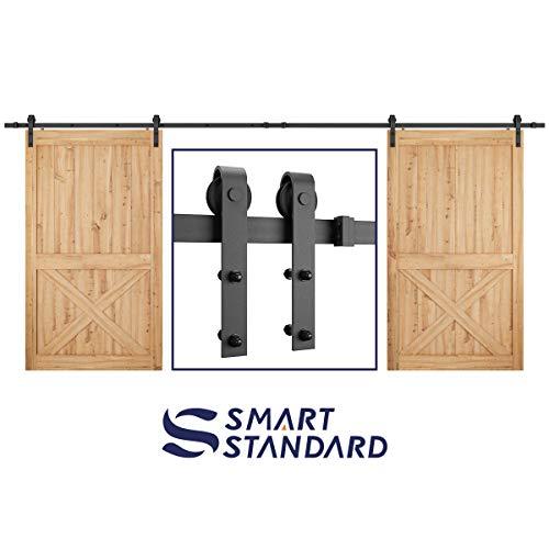 SMARTSTANDARD Heavy Duty 16FT Double Gate Sliding Barn Door Hardware Kit, Black, 16