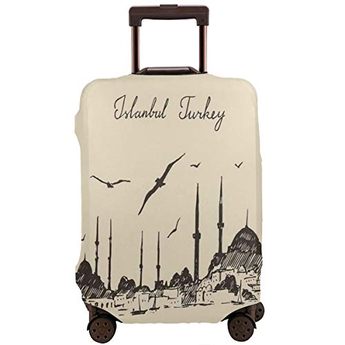(Travel Luggage Cover,Sketch Of Retro Istanbul Skyline With Gulls By Bosphorus Ottoman Heritage Suitcase Protector)