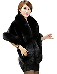 Women's Faux Fur Coat Wedding Cloak Cape Shawl for Evening Party