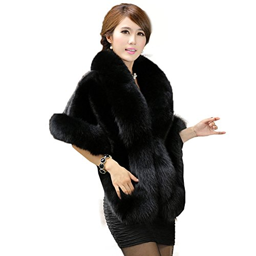 Caracilia Women's Faux Fur Coat Wedding Cape Shawl for Evening Party Black (Mink Collar Hair Long)