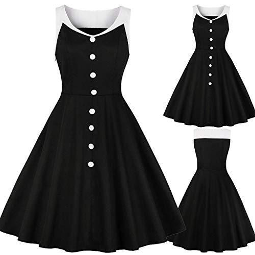 Opeer Vintage Dresses! Womens Solid Color Sleeveless V Neck