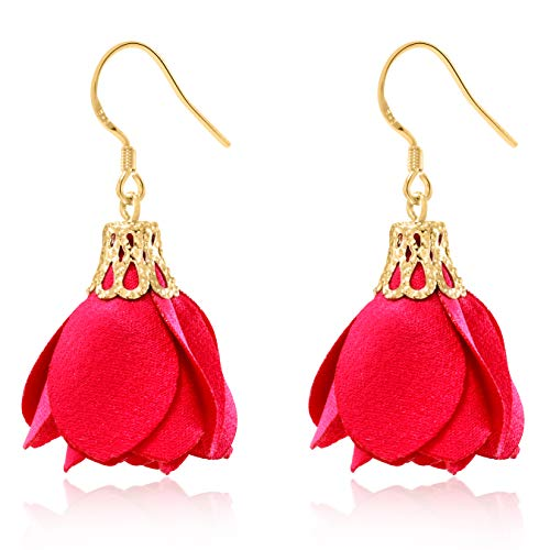 (Rose Flower Tassel Earrings Fabric Dangle Drop 925 Silver French Hook Jewelry for Women's (Red))