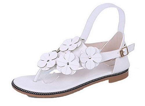 VogueZone009 Women Microfibre Split Toe Solid Buckle Sandals White