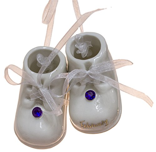 February Birthstone Baby Booties Porcelain Ornament