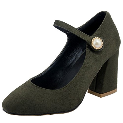 COOLCEPT Mujer Tacon Ancho Alto Cerrado Correa de Tobillo Court Zapatos con Perla Verde Oscuro