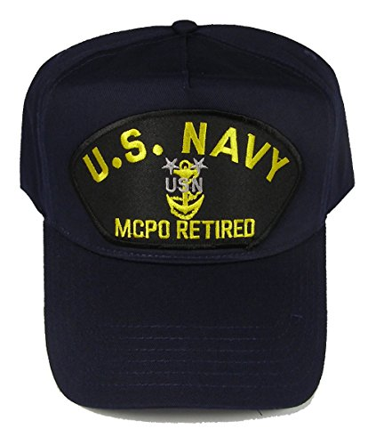 U S NAVY MCPO RETIRED with MASTER CHIEF ANCHOR HAT - Navy Blue - Veteran Owned Business (Masters Golf Hat Navy)