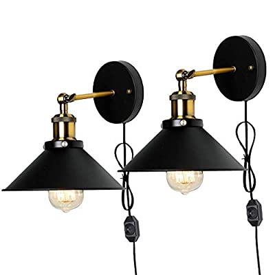 Metal Wall Sconce 1 Light Fixture E26 Base UL Plug In Cord Lighting Vintage Industrial Loft Style Wall Lamp For Bathroom Dining Room Kitchen Bedroom Bulbs Included…