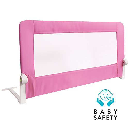 Guard Rail Lock (Tatkraft Guard Baby Bed Rail Foldable 120 cm Easy Fit Baby Safety Tall Bed Guard Rail for Toddlers/Kids/Children, Pink Color, Sturdy and Solid)