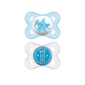 MAM Pacifiers, Baby Pacifier 0-6 Months, Best Pacifier for Breastfed Babies, 'Attitude' Design Collection, Boy, 2-Count