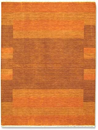 Gabbeh Art Collection Orange and Brown Persian Inspired Wool Area Rug 5 x 7