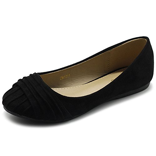 Ollio Women's Shoes Faux Suede Pleated Muliti Color Comforts Ballet Flat NEW1011 (8 B(M) US, Black)