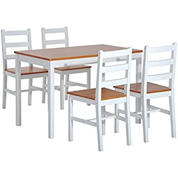 HOMCOM 5 Piece Solid Pine Wood Table and High Back Chair Dining Set - White/Natural Wood