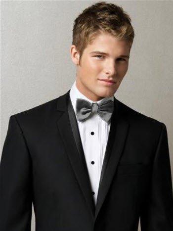 Iridescent Taffeta - Guys Iridescent Taffeta Bow Tie in Grey: Wedding 'n Formal Events