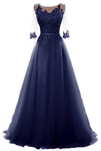 Cocktail Abendkleid Vickyben Kleid Langes Brautjungfer Ballkleid Tuell Party Prinzessin Schnuerung Navy A Damen Blu linie qrx740vq