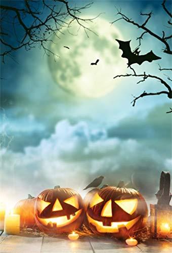 Leyiyi 8x10ft Cartoon Happy Halloween Backdrop Full Moon Cloudy Sky Pumpkin Lanterns on Wooden Borad Bats Spooky Bare Tree Photography Background Costume Carnival Photo Studio Prop Vinyl -