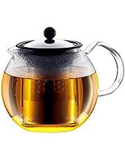 Bodum Assam 1801-16 theemaker (French Press System, permanent roestvrijstalen filter, glazen greep), 1,0 liter glanzend