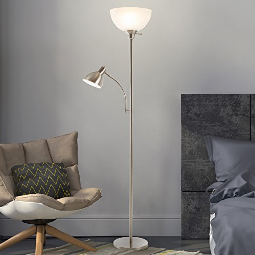 Lavish Home 72-Torch-5 Torchiere Floor Lamp with Reading Light-Sturdy Metal Base, Marbleized White Glass Shade-Energy Saving LED Bulbs Included, Satin Nickel