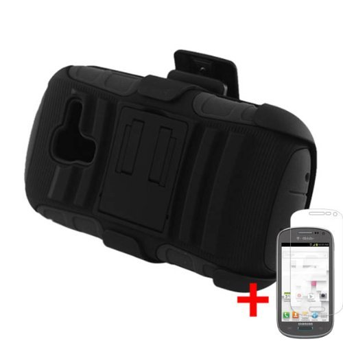 Samsung Galaxy Exhibit T599 Black Hybrid Armor Kickstand Cover Belt Clip Holster Case + Screen Protector From [Accessory Arena]