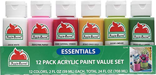 (Apple Barrel 12 Essential Colors Matte Finish Craft Acrylic Paint)
