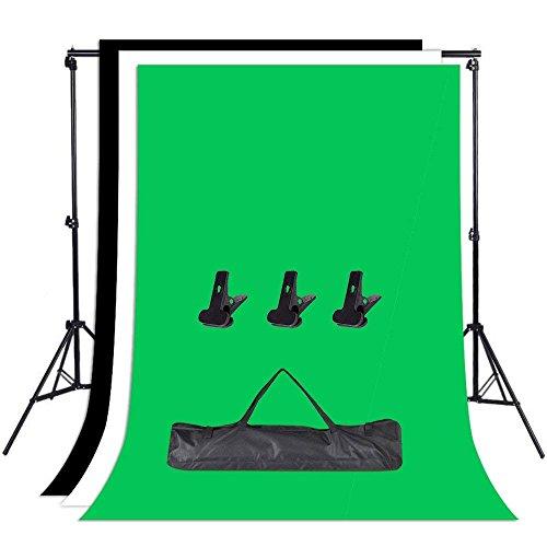 Abeststudio Photo Studio 조정 가능한 배경 지원 스탠드 키트 1.6 x 3m 블랙 / 화이트 / 녹색 배경 스크린 + 6.5ft x 6.5ft / 2m x 2m 배경 지원 시스템 + 3 개의 클램프 + 캐리 백